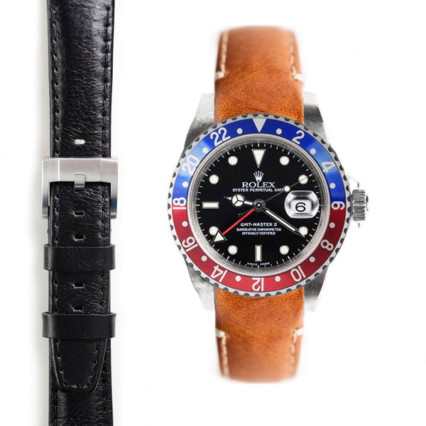 EVEREST CURVED END LEATHER STRAP FOR ROLEX GMT MASTER I AND II WITH TANG BUCKLE - ChronoNation