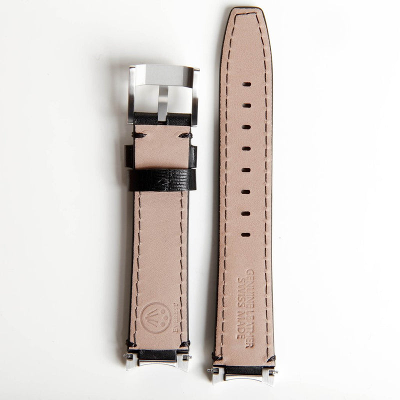 EVEREST STEEL END LINK ALLIGATOR EMBOSSED STRAP FOR ROLEX DAYTONA WITH TANG BUCKLE