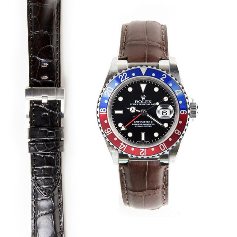 EVEREST STEEL END LINK ALLIGATOR EMBOSSED STRAP FOR ROLEX GMT MASTER I & II WITH TANG BUCKLE - ChronoNation