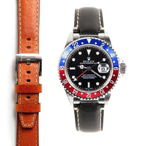 EVEREST CURVED END LEATHER STRAP FOR ROLEX GMT MASTER I AND II WITH TANG BUCKLE