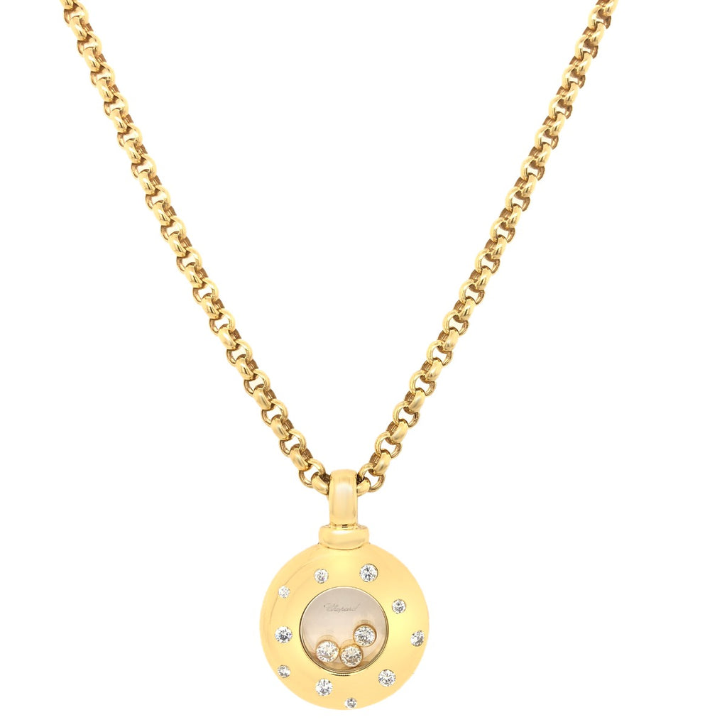 Chopard 18k Gold Happy Diamond Pendant Necklace
