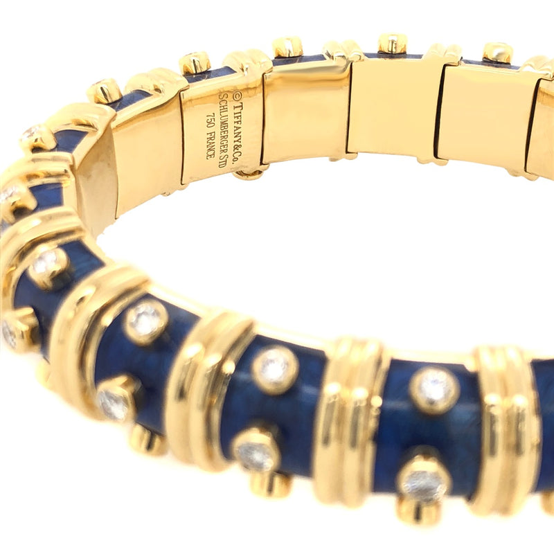 Tiffany  and  Co. Schlumberger Blue Enamel and Bezel Set Diamond Bangle