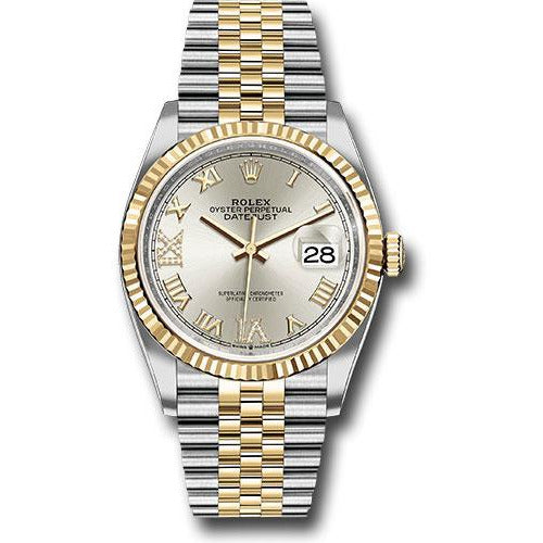 Rolex Datejust 36mm 18K Yellow Gold & Stainless Steel Silver Roman 126233