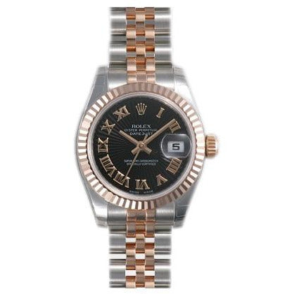 Rolex DateJust 26mm 18K Rose Gold & Stainless Steel Black Roman Dial 179171