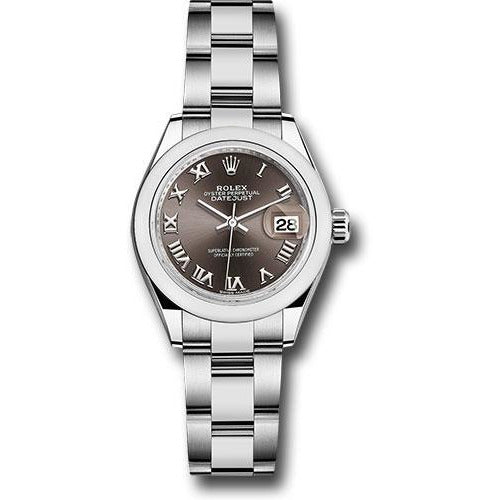 Rolex DateJust 28mm Stainless Steel Brown Roman Dial 279160