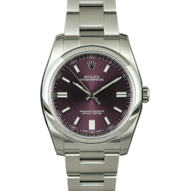 Rolex Oyster Perpetual 36mm 116000 Stainless Steel Purple Dial Unisex Watch