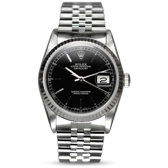 Rolex Datejust 36mm 16234 Black Stick Dial Stainless Steel Unisex Watch