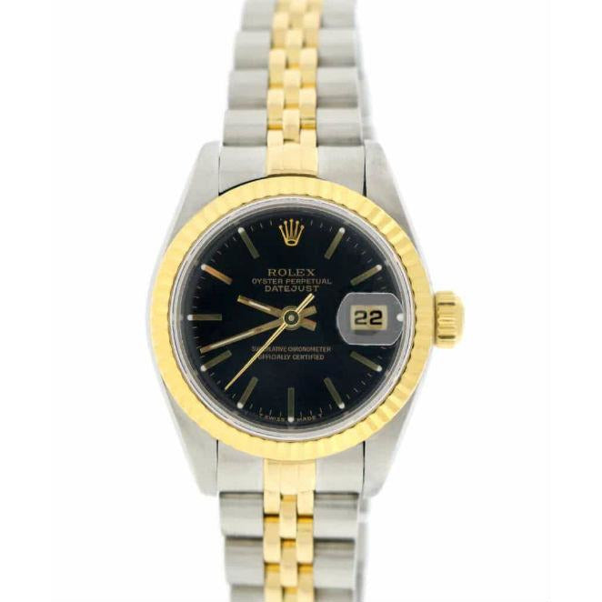 Rolex Datejust 26mm 79173 18K Yellow Gold & Stainless Steel Black Dial Women's Watch