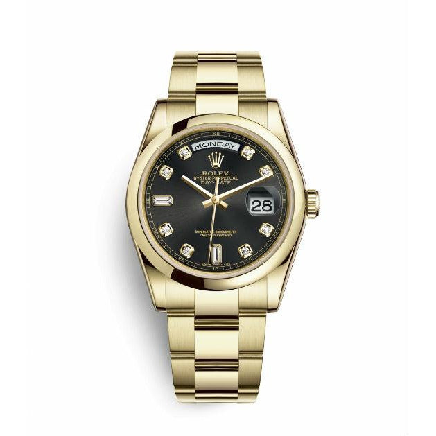Rolex Day-Date II 218239 18k White Gold Black Roman Fluted Bezel Automatic Watch