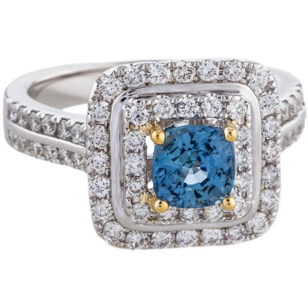 14K DIAMOND DOUBLE HALO  and  SAPPHIRE COCKTAIL RING