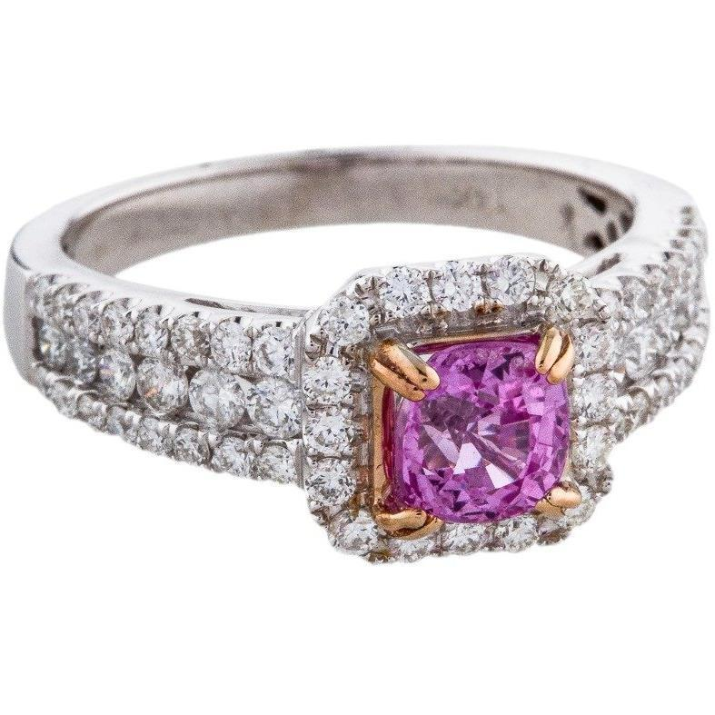 14K DIAMOND  and  PINK SAPPHIRE COCKTAIL RING