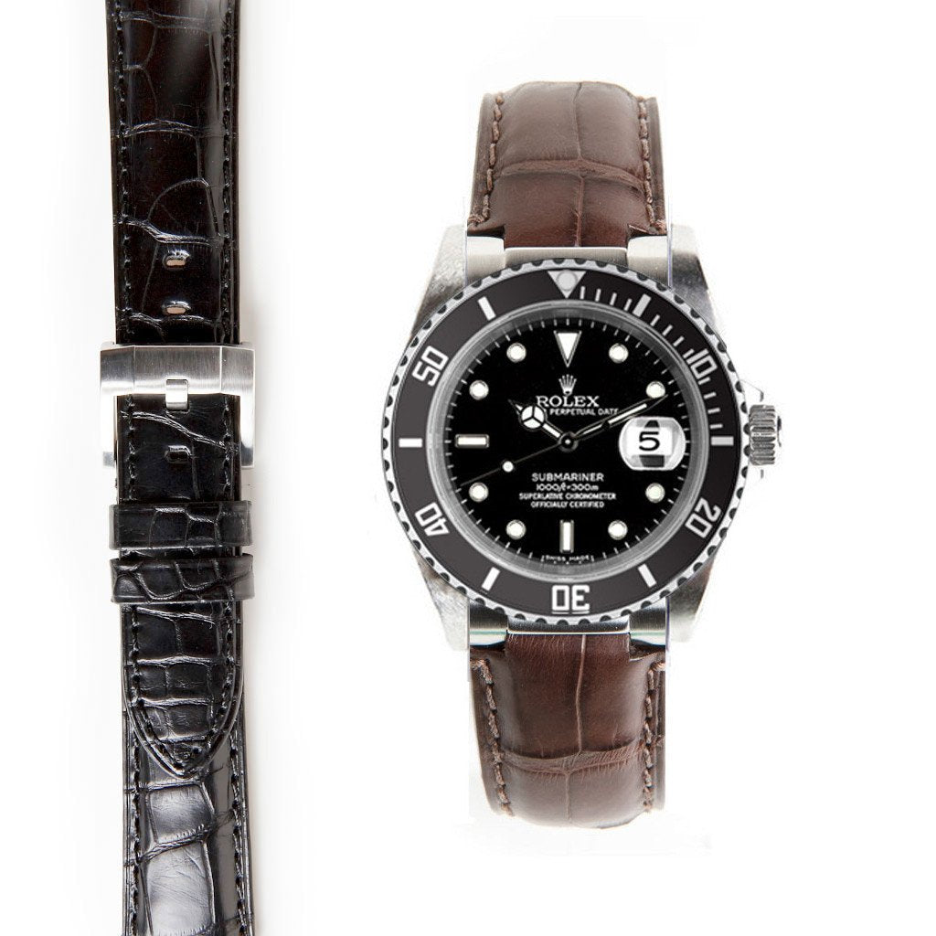 EVEREST STEEL END LINK ALLIGATOR EMBOSSED STRAP FOR ROLEX SUBMARINER CERAMIC WITH TANG BUCKLE