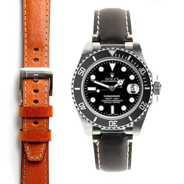 EVEREST STEEL END LINK LEATHER ROLEX SUBMARINER CERAMIC NO-DATE TANG BUCKLE