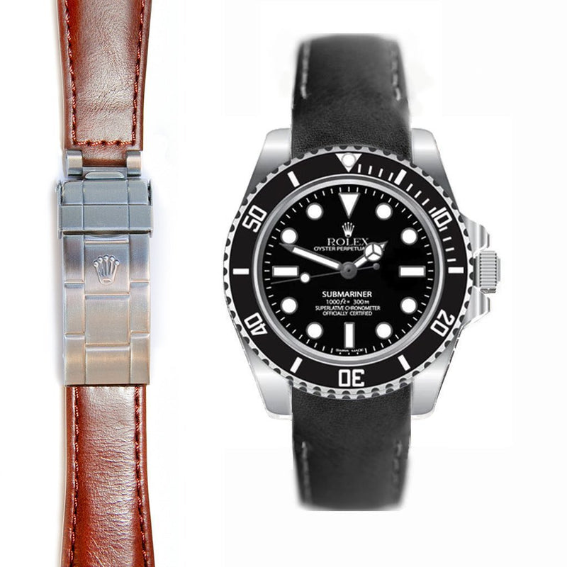 EVEREST CURVED END LEATHER ROLEX SUBMARINER CERAMIC NO-DATE DEPLOYANT BUCKLE