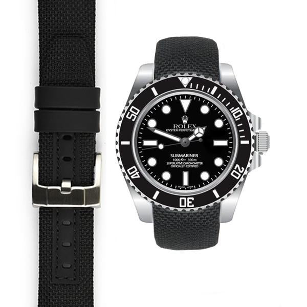 EVEREST CURVED END NYLON STRAP FOR ROLEX SUBMARINER CERAMIC WITH TANG BUCKLE