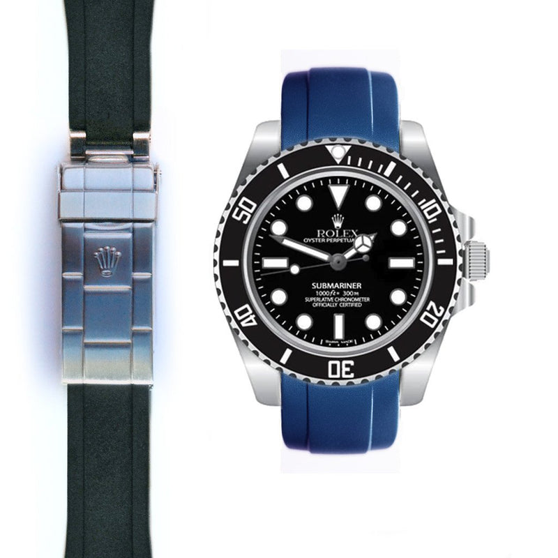 EVEREST CURVED END RUBBER ROLEX SUBMARINER CERAMIC NO-DATE DEPLOYANT