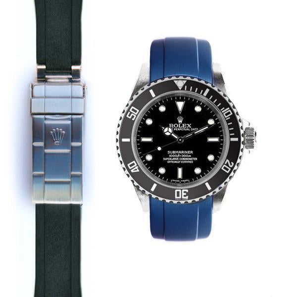 EVEREST CURVED END RUBBER ROLEX SUBMARINER NO-DATE DEPLOYANT
