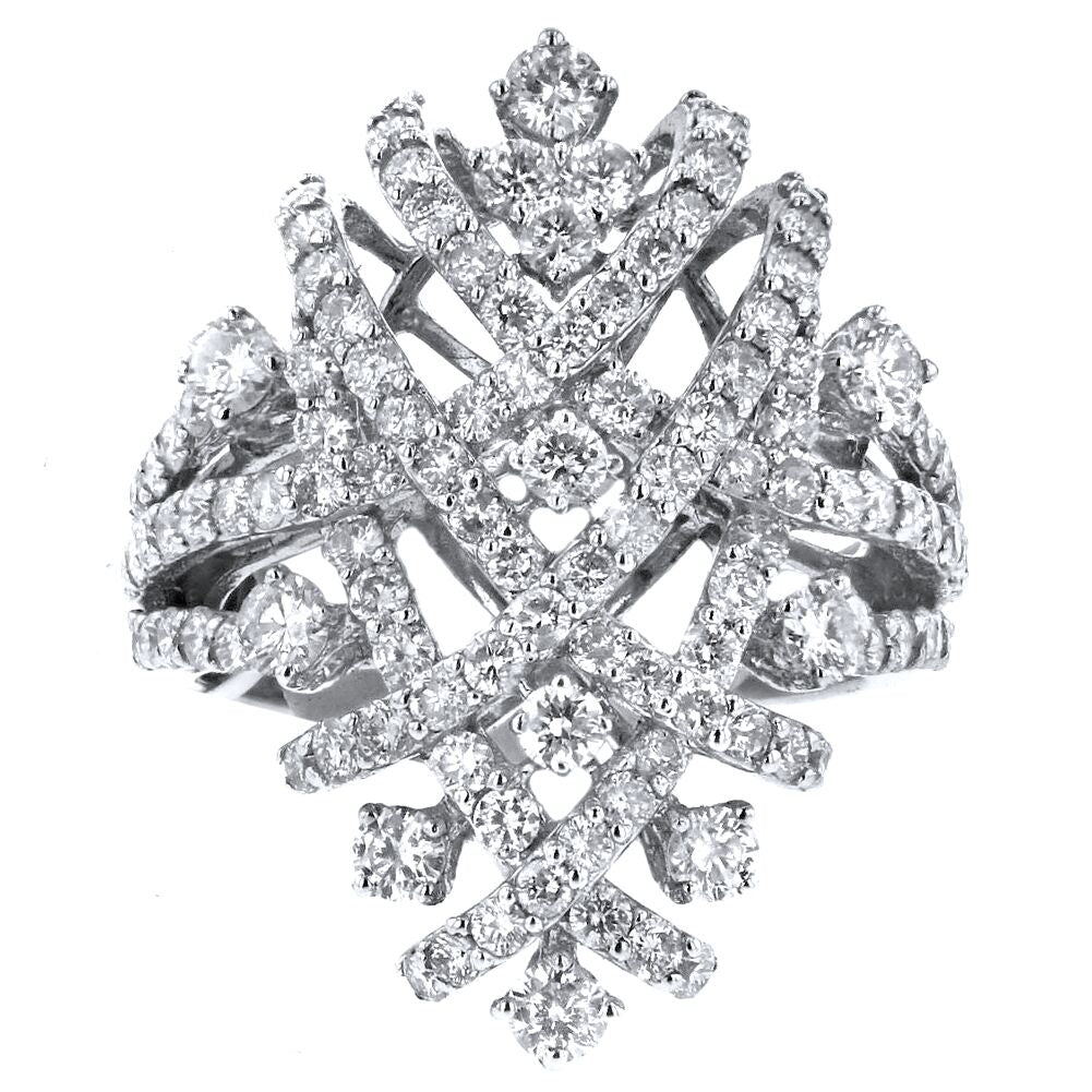 18k White Gold 2.56ct Diamond Criss Cross Ring