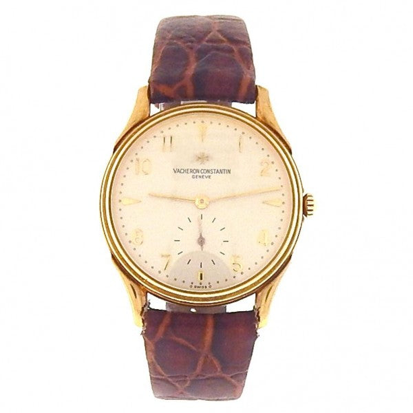 Vacheron Constantin Vintage 18k Yellow Gold Brown Leather Manual Men's Watch - ChronoNation