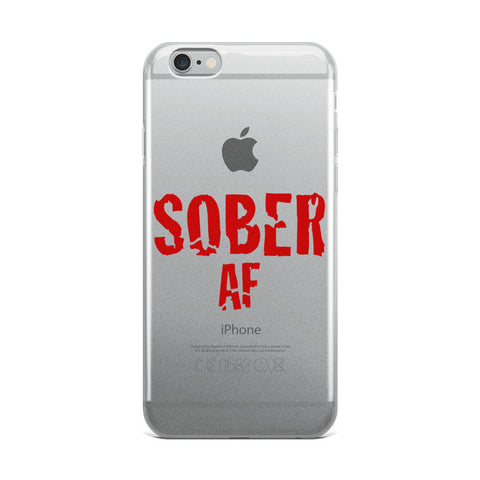 Sober AF Red Font iPhone Case