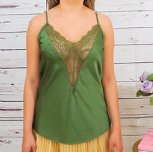 Load image into Gallery viewer, Silky Lace Green Top