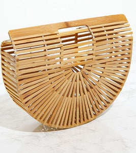 Small Tan Wooden Structured Clutch Bag
