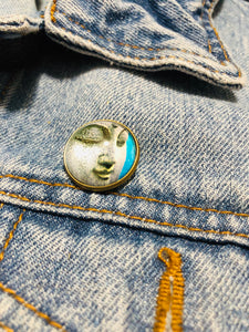Buddha Face Cabochon Brooch Pin