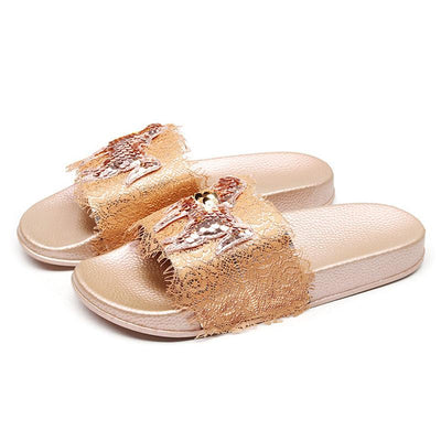 Women's Fashion Glossy Silk Craft Slippers - GlitterLily
