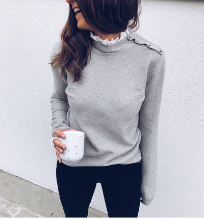 Sexy Lace Round Neck Long Sleeve Top - GlitterLily