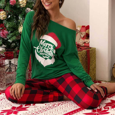 Casual Christmas Plaid Printed Top Set - GlitterLily