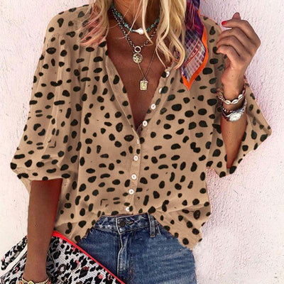 Leopard Long Sleeve Casual Blouse - GlitterLily