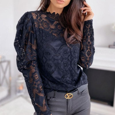 Sexy Cutout Lace Stitching Top - GlitterLily