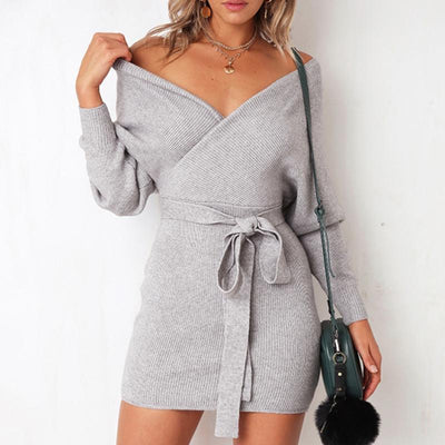 Knitwear Sexy Bag Hip Dress - GlitterLily
