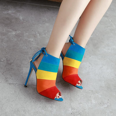 Pointed Rainbow Color High Heels - GlitterLily
