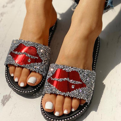 Mouth Studded Design Flat Slippers - GlitterLily
