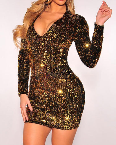 Long Sleeve Deep V Sequin Dress - GlitterLily