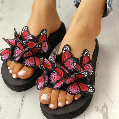Butterfly Embellished Flat Casual Sandals - GlitterLily