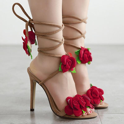 Rose Flower Cross Lace-up High Heels - GlitterLily