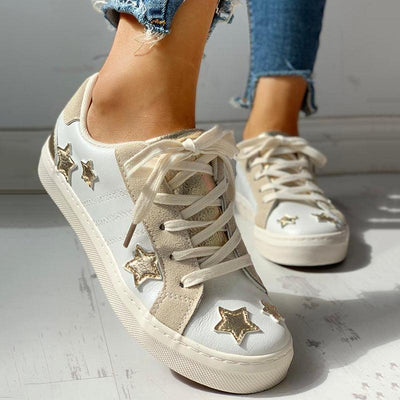 Star Design Casual Lace-Up Sneakers - GlitterLily