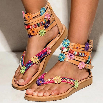 Flower Detail Multi-Strap Toe Post Sandals - GlitterLily