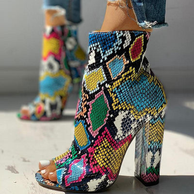 Colorful Snakeskin Chunky Heeled Boots - GlitterLily