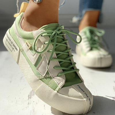 Eyelet Lace-Up Patchwork Casual Sneakers - GlitterLily