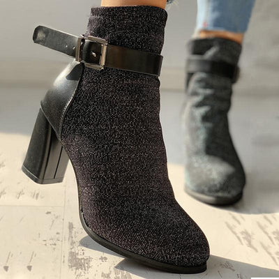 Suede Ankle-Buckled Pointed Toe Chunky Heeled Boots - GlitterLily