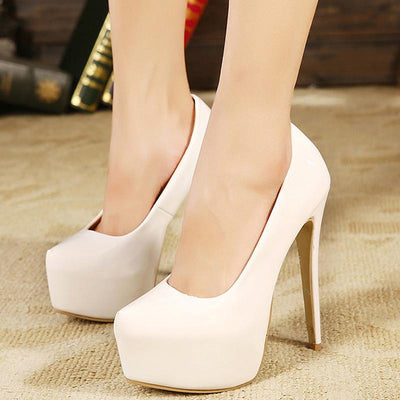 Pointed Solid Color Simple High Heels - GlitterLily