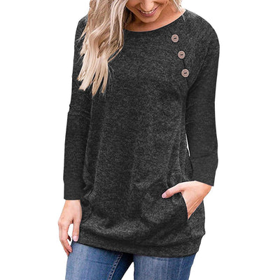 Round Neck Button Long Sleeve Pocket Top - GlitterLily