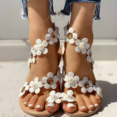 Floral Embellished Toe Ring Casual Sandals - GlitterLily