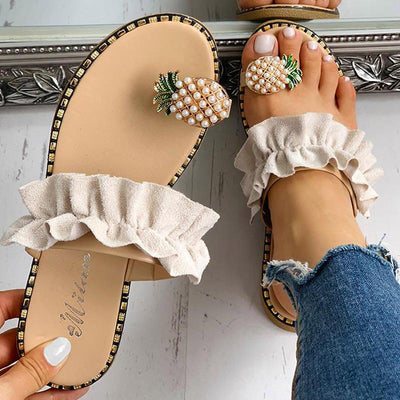 Pineapple Pattern Toe Ring Frill Hem Casual Sandals - GlitterLily