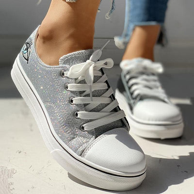 Colorblock Eyes Pattern Eyelet Lace-Up Casual Sneakers - GlitterLily