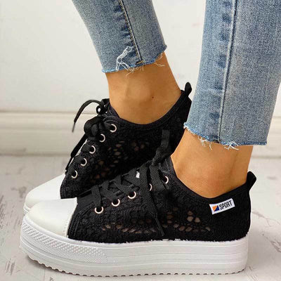 Colorblock Eyelet Hollow Out Lace-Up Sneakers - GlitterLily