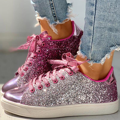 Glitter Sequins Eyelet Lace-up Sneakers - GlitterLily